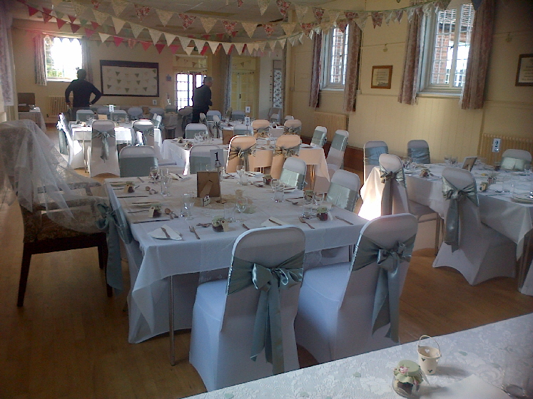 Hall set for wedding reception